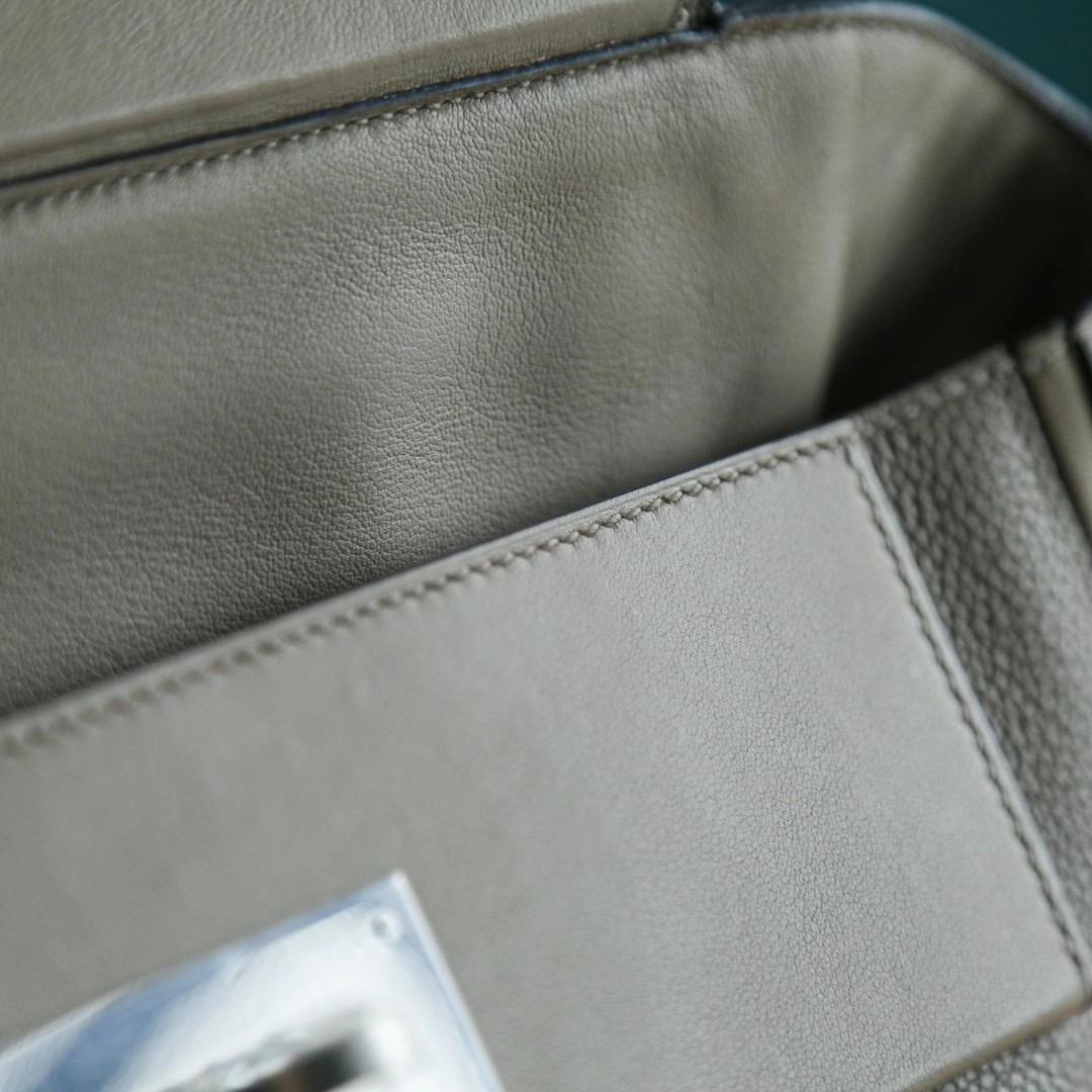 Hermes Kelly 24-24 29CM M8 沥青灰 Togo 拼 Swift 银扣