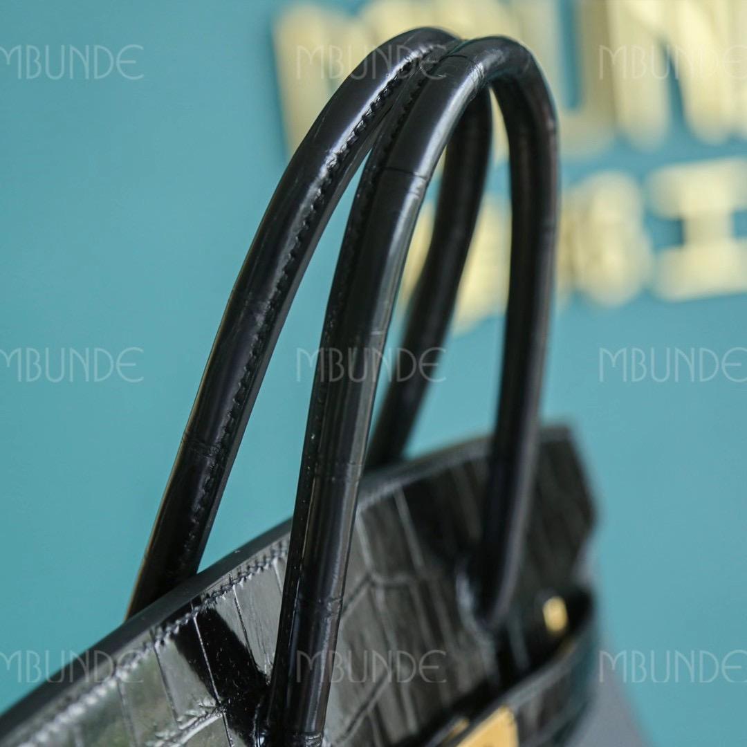 Hermes Birkin Touch 30CM 黑色 两点鳄鱼拼Togo 金扣 专柜限量版拼皮组合