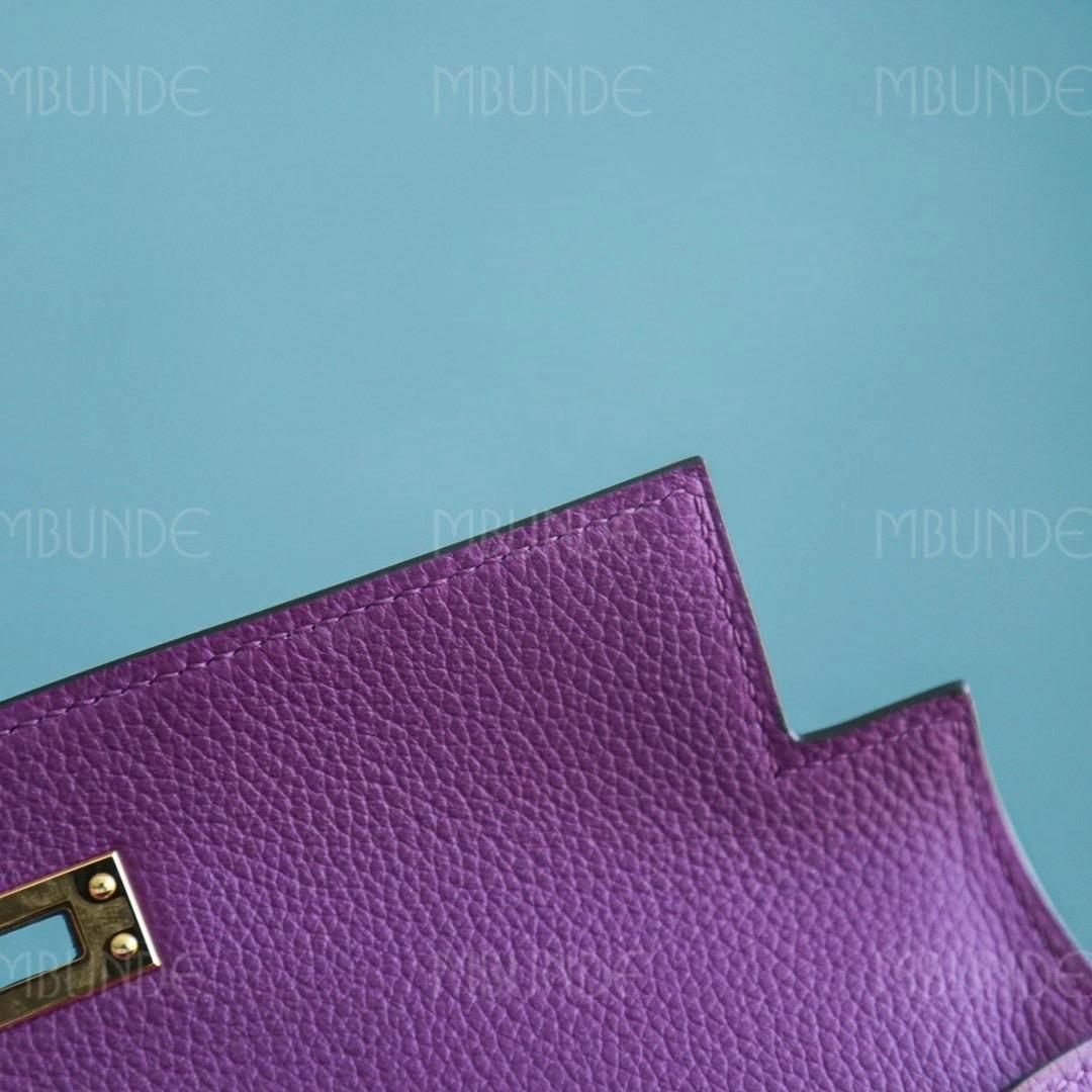 【热门推荐款】爱马仕 跳舞包 Kelly Danse 22CM P9 海葵紫 Evercolor皮 金扣 一包五用哦