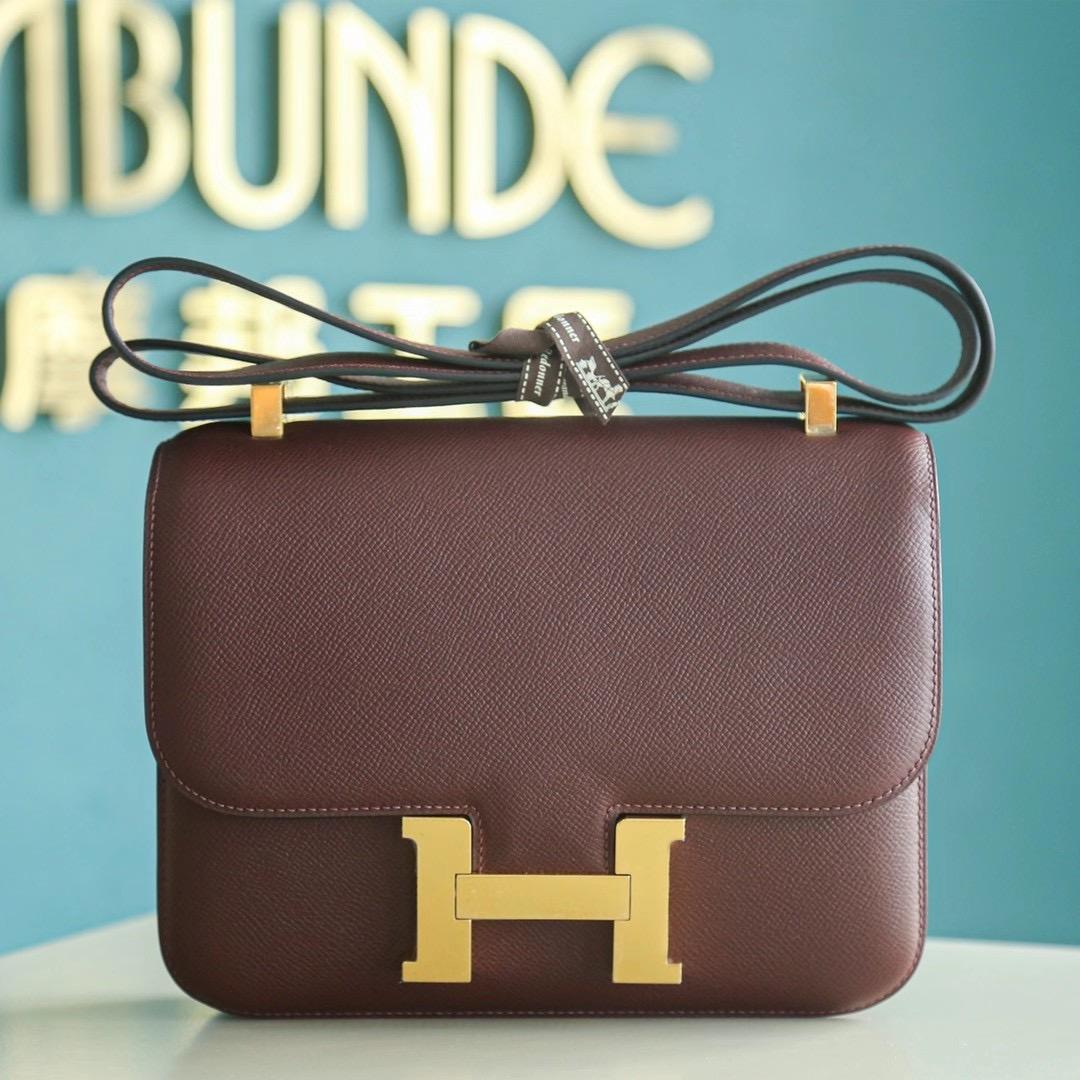 Hermes 空姐包 Constance 24cm 酒红色 Epsom 金扣 秋冬季节最好卖的颜色之一,很好配衣服哦