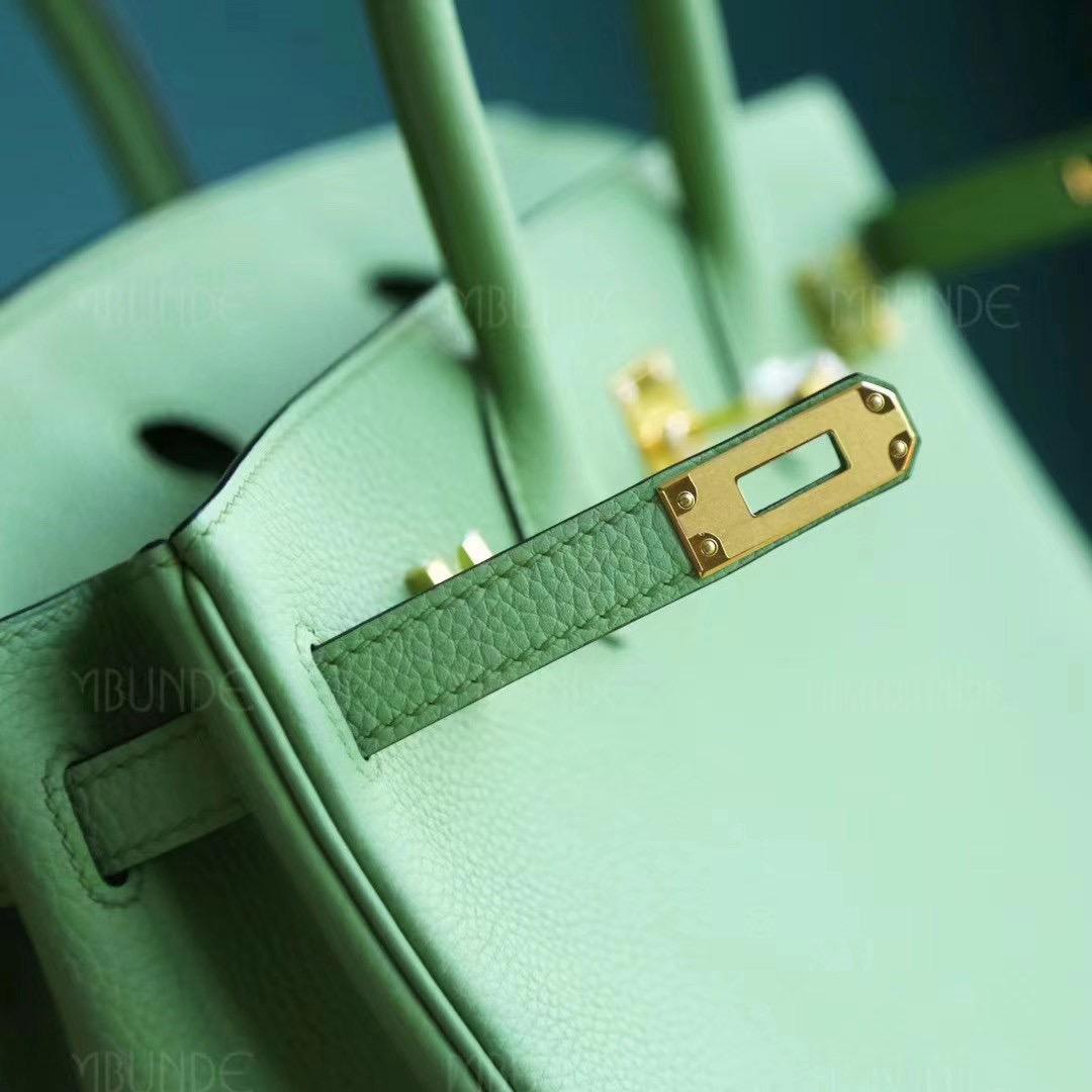 Hermes 铂金包 Birkin 25CM 3i 牛油果绿 蟋蟀绿 Togo 金扣