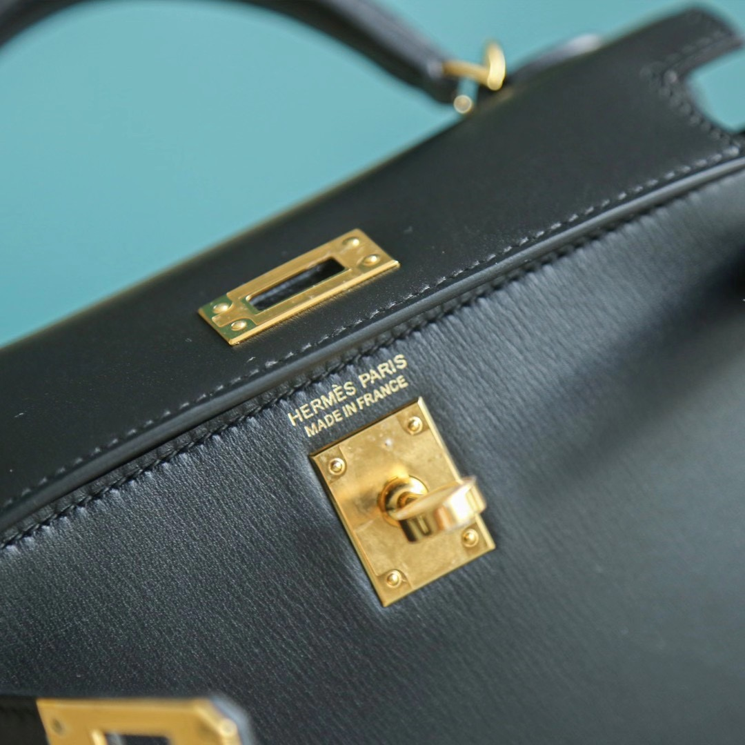 【2020年热门款】Mini Kelly 2代 黑色 BOX皮 金扣 单肩包 小挎包