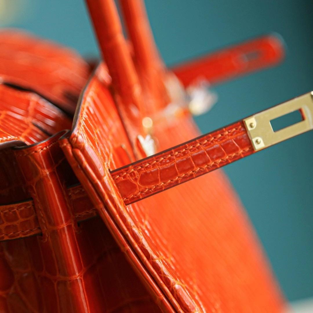 Hermes Birkin 25CM 橙色 亮面两点 尼罗鳄 金扣 纯手工 HandMade