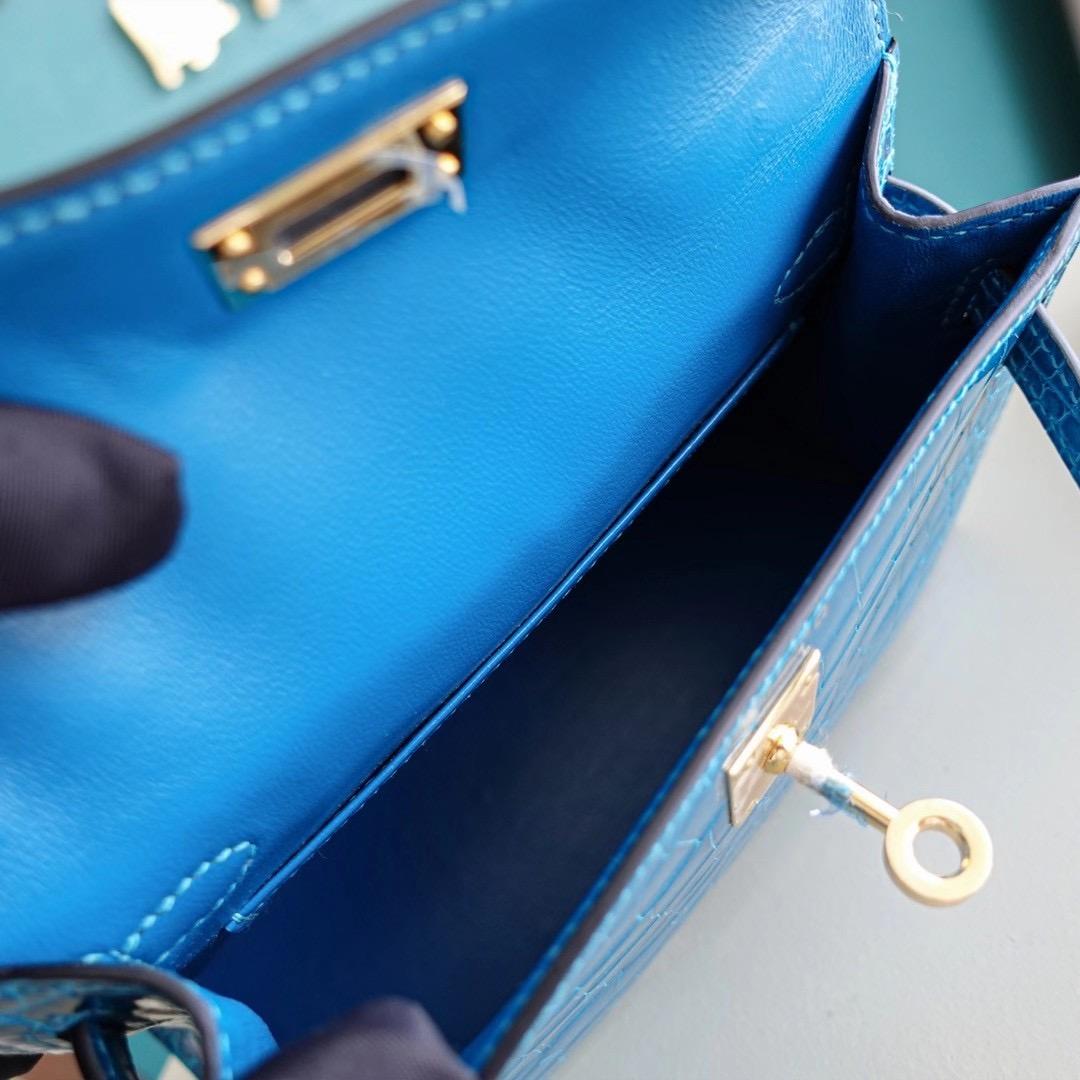Hermes Mini Kelly 7W 伊兹密尔蓝 亮面美洲鳄鱼 金扣 超神秘的蓝绿混合色