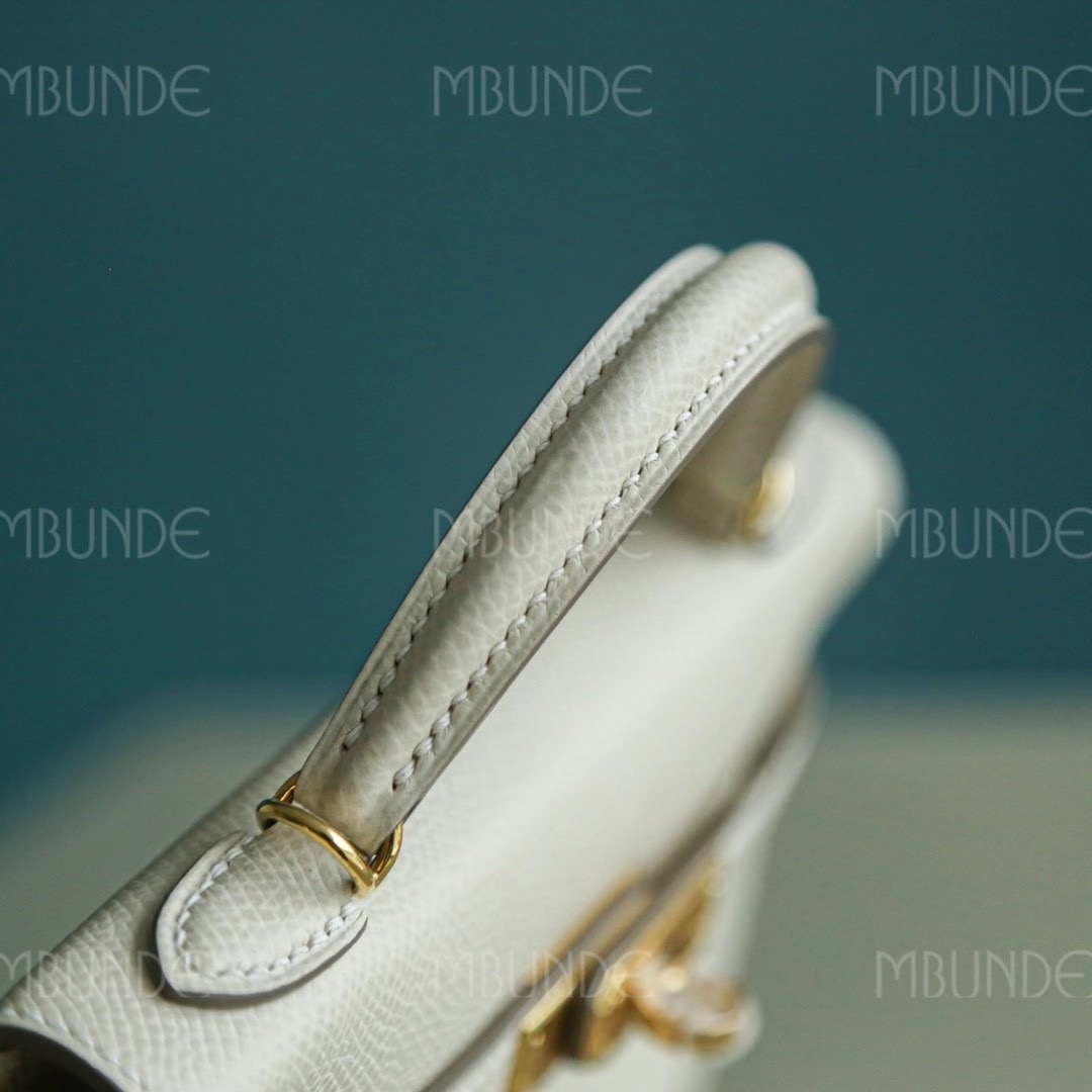 爱马仕包包定制 Hermes Mini Kelly 2代 Epsom 奶昔白 金扣