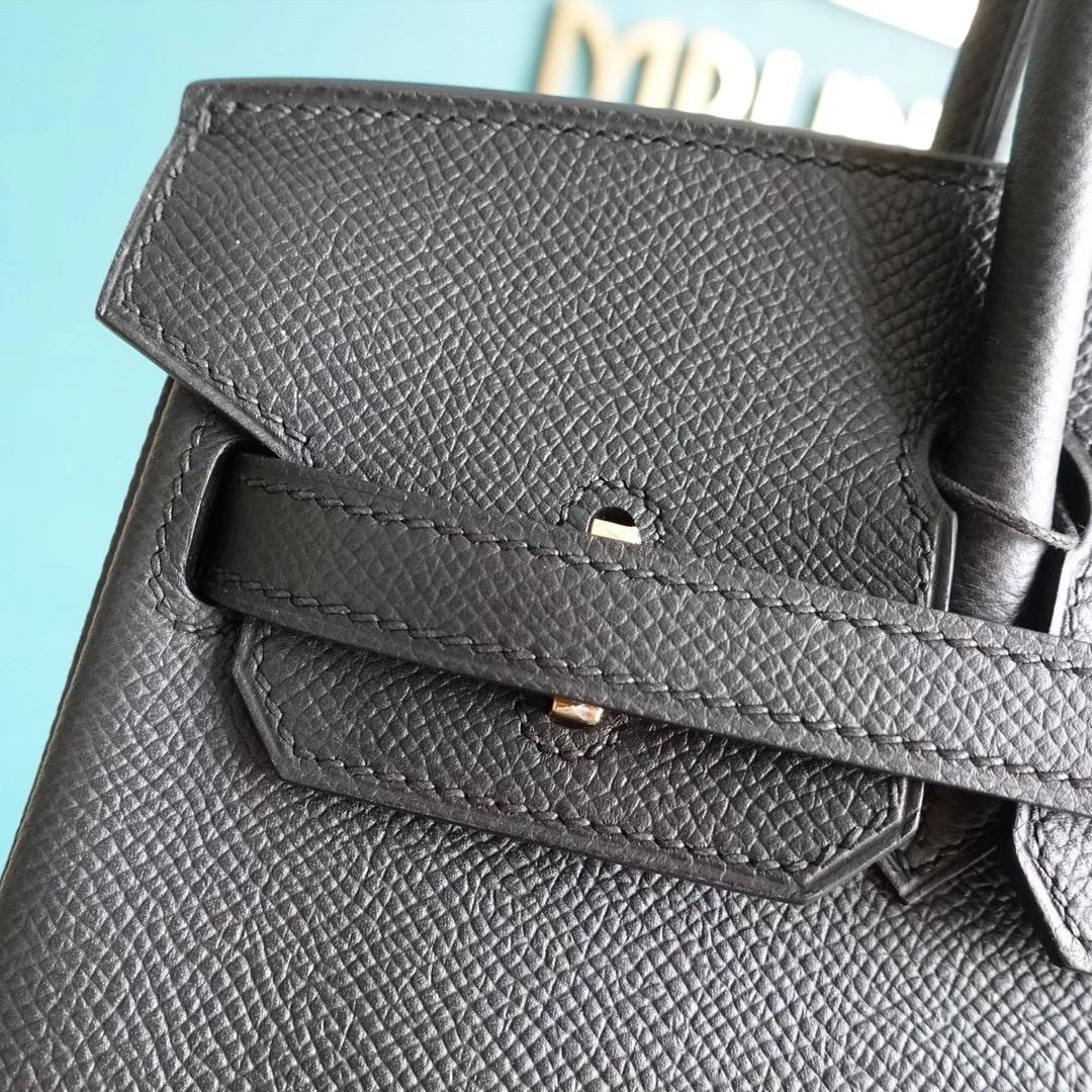爱马仕 Hermes 铂金包 Birkin 25CM Epsom 全手工 黑色 金扣