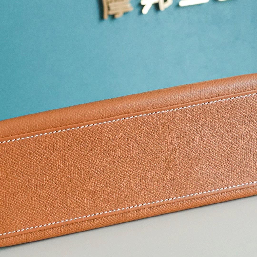 Hermes Kelly Pochette 1代 手拿包 Epsom皮 全手工  金棕色 银扣