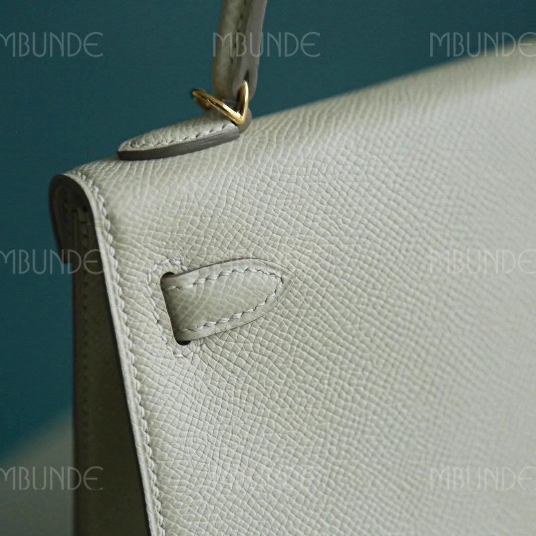 Hermes Mini Kelly 2代 Epsom皮 晚宴包 手拿包 奶昔白 金扣 全手工