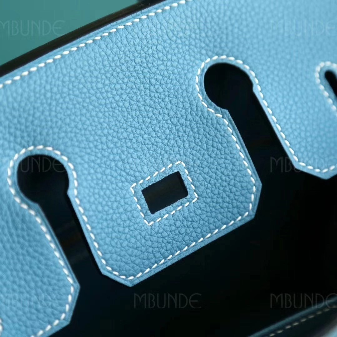 爱马仕 Hermes Birkin 25cm Togo皮 CC75 Blue Jean牛仔蓝 金扣 全手工