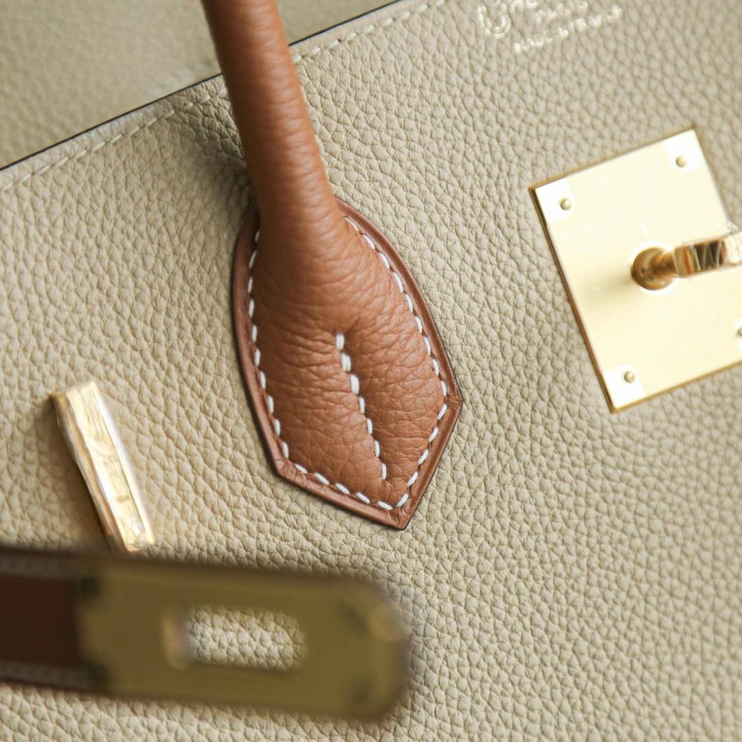 Hermes Birkin 30cm 风衣灰拼金棕 Togo 金扣 两大暖色系的结合,秋冬最适合不过啦