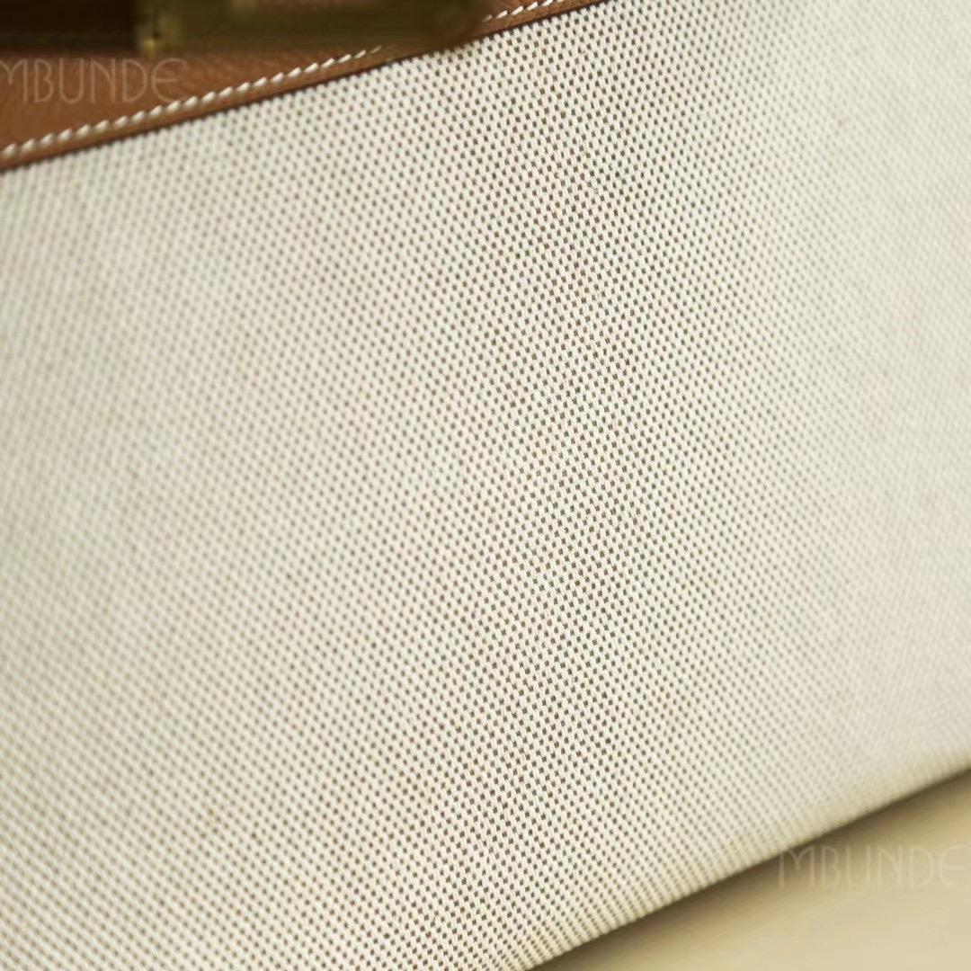 Hermes Kelly 28CM 金棕色 Epsom  拼米白帆布