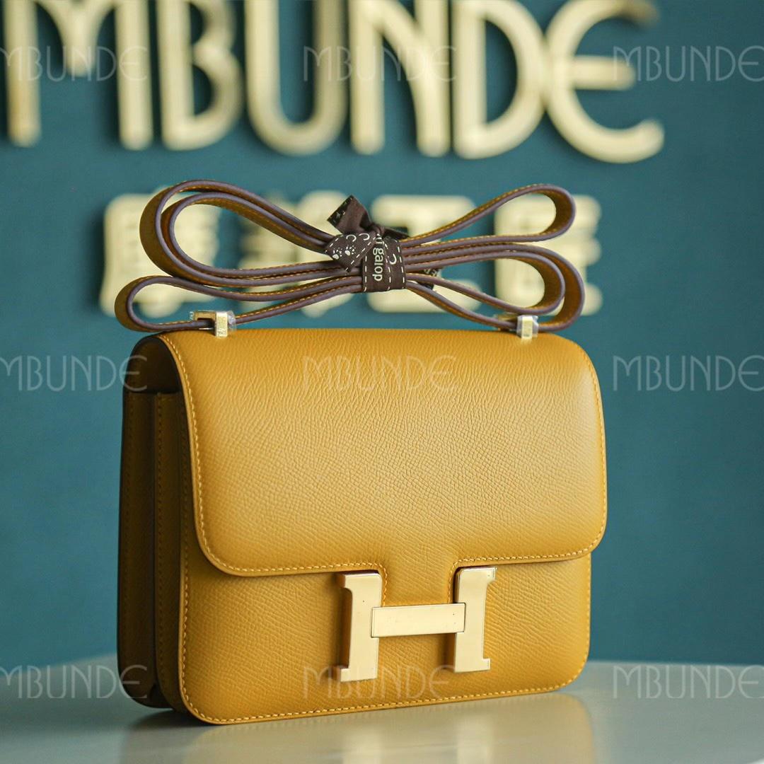 Hermes Constance 19CM 琥珀黄 金扣 Epsom 最火的招财黄