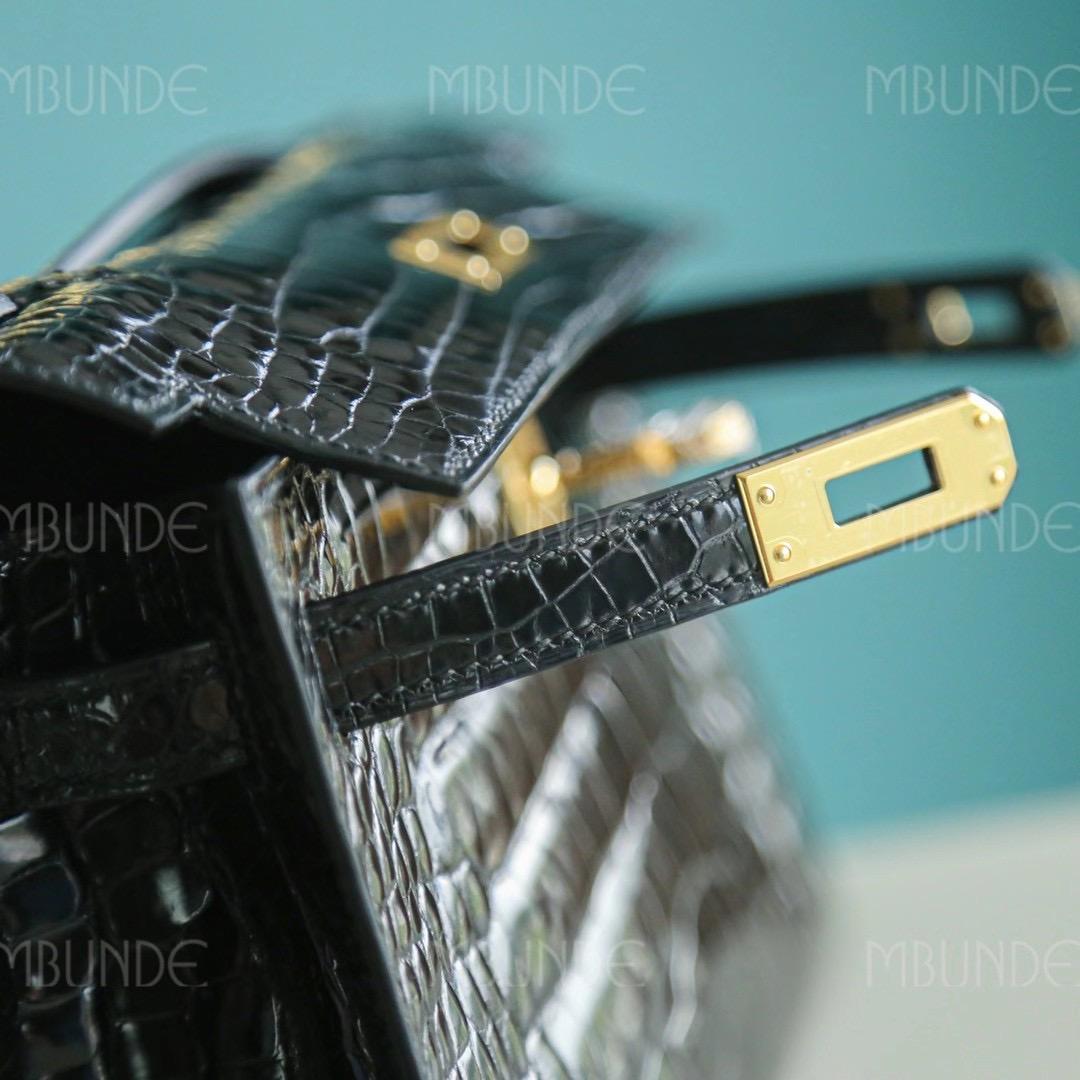 Hermes Kelly  Pochette 一代 22cm 黑色 金扣 拱珠鳄鱼皮