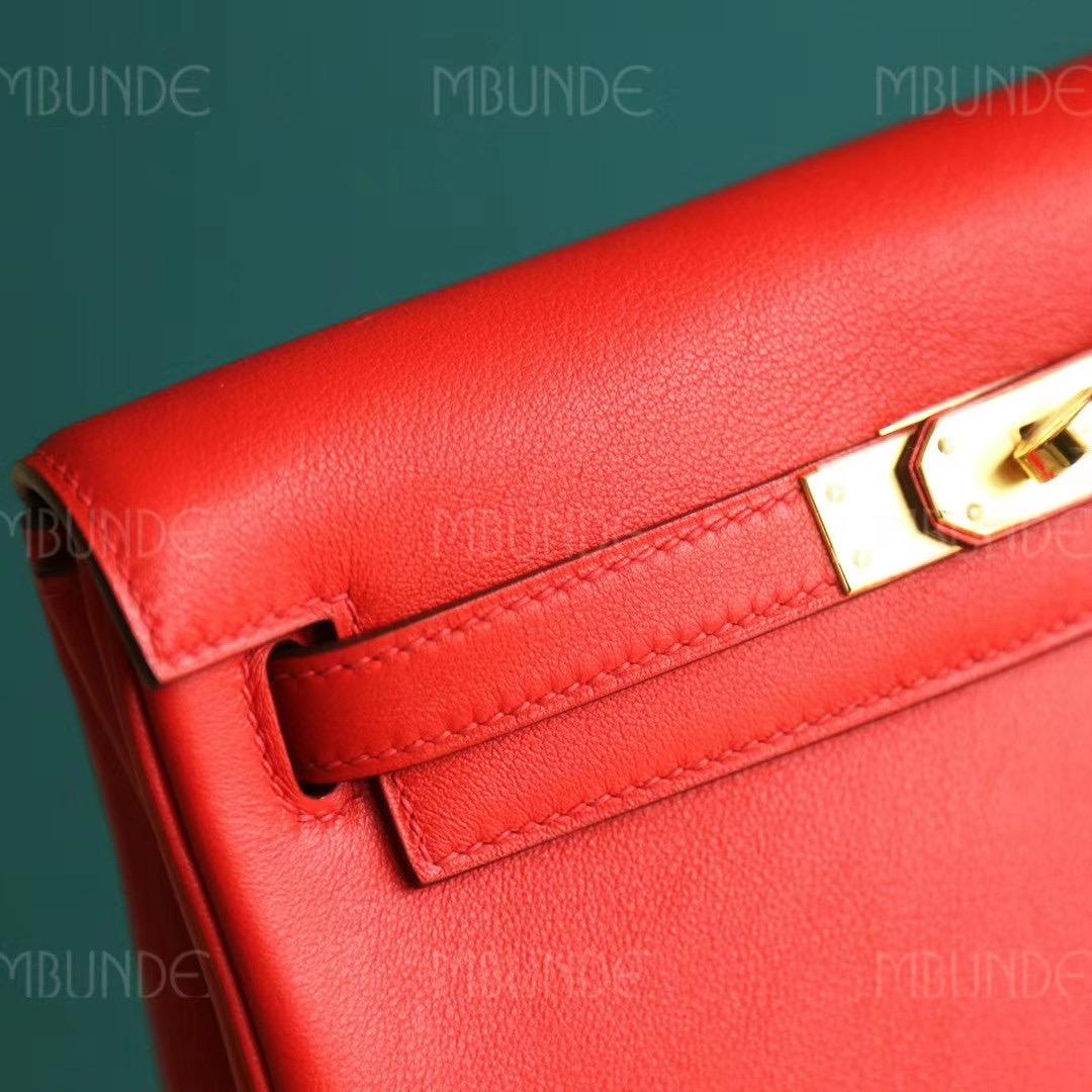 Hermes 背包 双肩包 Kelly Ado 22CM 国旗红 Swift皮 金扣 纯手工