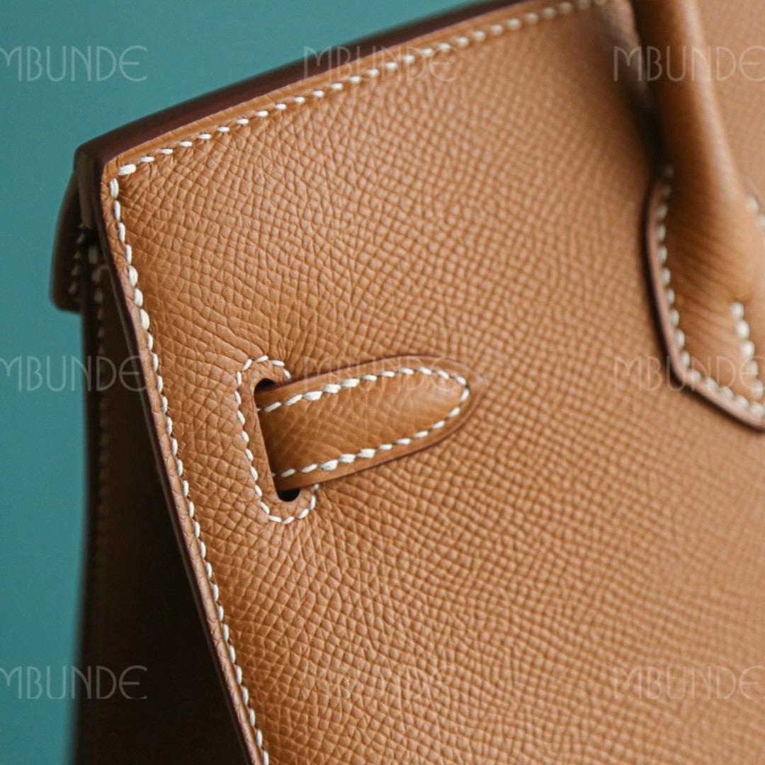 Hermes Birkin 25CM 金棕 银扣 Epsom 外缝