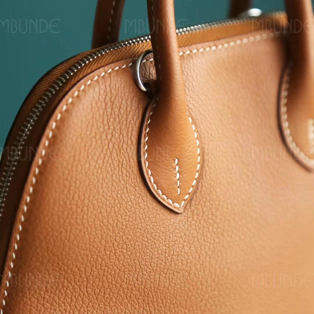 店长推荐 :Hermes Mini Bolide 迷你号 保龄球包 金棕色 银扣 EverColor皮